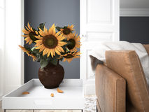 Still life with sunflowers. 3d rendering. Still life with sunflowers in a interior. 3d rendering Royalty Free Stock Photos