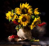 Still life with sunflowers in a vase. Still life with sunflowers, flowers and fruits royalty free stock photos