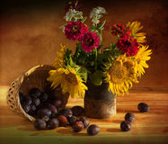 Still life with sunflowers and plum. In decorative Stock Photos