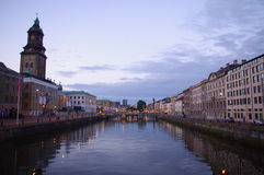 Still life of Sweden. River flowing through the city of Gothenburg stock images