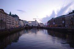 Still life of Sweden. River flowing through the city of Gothenburg royalty free stock photos