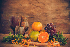 Still life with tangerines Stock Images