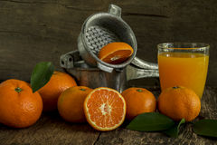 Still life tangerines and juicer. Still Life orange patterned on old wood and antique juicer Royalty Free Stock Photos