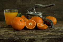 Still life tangerines and juicer. Still Life orange patterned on old wood and antique juicer Stock Photography