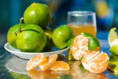 Still life with tangerines. Outdoors Stock Photos