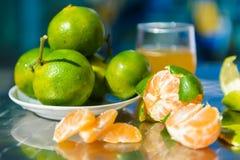 Still life with tangerines Stock Photos