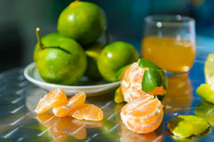 Still life with tangerines. Outdoors Royalty Free Stock Image