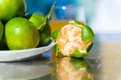 Still life with tangerines. Outdoors Stock Photography