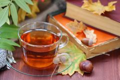 Still life with tea, books and leaves in autumn Stock Photo
