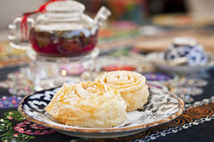 Still life of tea and cakes Royalty Free Stock Images
