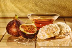 Still life with tea, cookies and figs Stock Photos