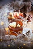 Still life tea drinking in the living room. Cup of tea with apple and garland light wooden table, the concept of coziness,. Calmness, autumn winter weekend and stock image