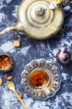 Cup of Turkish tea. Still life with tea in the eastern tea pot Stock Images