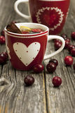 Still life with tea mugs Stock Photos