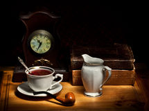 Still life with tea and old books Royalty Free Stock Photo