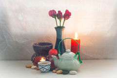 Still life Tea pot aroma set. concept relax or medical Stock Photography