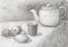 Still life of teapot, cup, fruits drawn by pencil Stock Image
