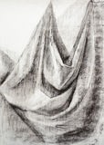 Still life textile hand drawing curtain drapery Royalty Free Stock Photo