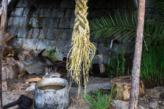 Still life with thick marine rope. Royalty Free Stock Images