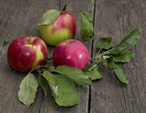 Still life three apples with leaves on a wooden old table Royalty Free Stock Image