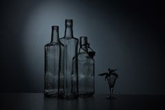 Still-life with three bottles Royalty Free Stock Images