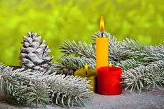Still Life with Three Candles Royalty Free Stock Image