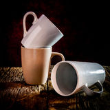 Still life three cup stacked on wood Royalty Free Stock Photos