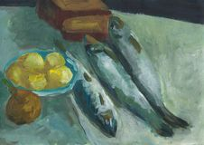 Still life: three fish, boiled potatoes, rye bread and onion. Fresh sea fish, tuna, trout, mackerel, herring, scomber. royalty free illustration