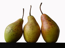 Still life with three pears. On white background royalty free stock photos