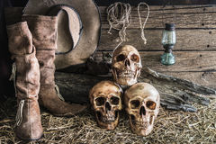 Still life with three skull in barn background. Still life three skull on hay with leather boots and cowboy hat background, vintage and dark tone for horror royalty free stock images