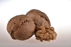 Still life of three walnuts stock images
