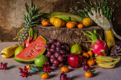 Still life with on the timber full of fruit. Royalty Free Stock Photography