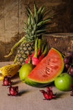 Still life with on the timber full of fruit. Stock Photography