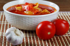 Still life with tomatoes and garlic Stock Photography