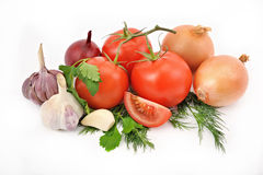 Still life from tomatoes onions and garlic with greens on a whit Stock Photography