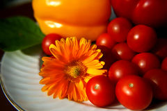 Still life with tomatoes and peppers. Tomatoes and peppers on a white plate stock photography