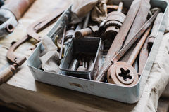 Still life tool box with nails rasp and old tools.  stock photos