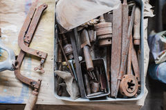 Still life tool box with nails rasp and old tools.  royalty free stock photography
