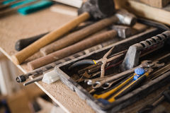 Still life tool box with nails rasp and old tools.  stock photography