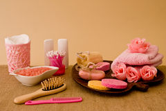 Still life of tools and means for skincare and hair in a pink co Royalty Free Stock Photo