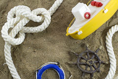 Still life with toy sea objects Stock Photography