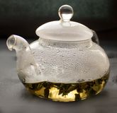 Still life, transparent glass teapot, cup with tea, Stock Photo