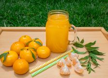 Still life. A transparent mug with a handle with freshly squeezed tangerine juice. And fresh tangerines. Outdoors. royalty free stock photos