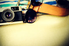 Still life of travel concept with accessory. Royalty Free Stock Image