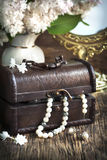 Still life with treasure chest and pearl necklaces. Stock Image