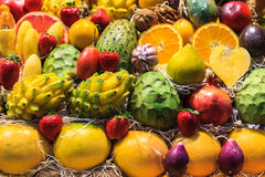 Still life of tropical fruits in the market of Las Palmas de Gra Royalty Free Stock Photo