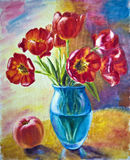 Still life with tulips. And peach, oil painting on canvas Stock Image