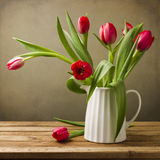 Still life with tulips bouquet Royalty Free Stock Image