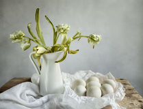 Still Life with Tulips and Eggs Royalty Free Stock Image