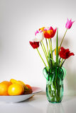 Still life with tulips and fruits Stock Photo